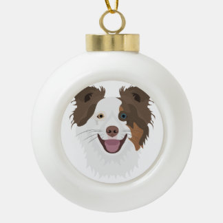 Illustration happy dogs face Border Collie Ceramic Ball Christmas Ornament