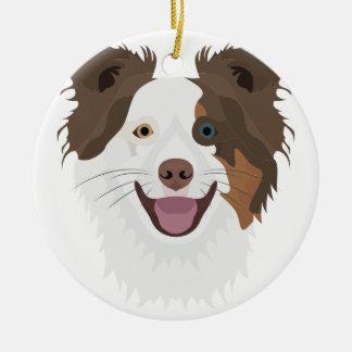 Illustration happy dogs face Border Collie Ceramic Ornament
