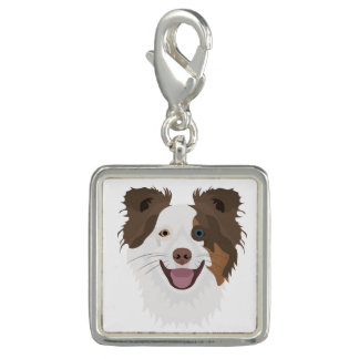 Illustration happy dogs face Border Collie Charm