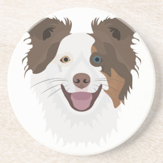 Illustration happy dogs face Border Collie Coaster