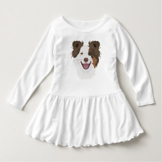Illustration happy dogs face Border Collie Dress