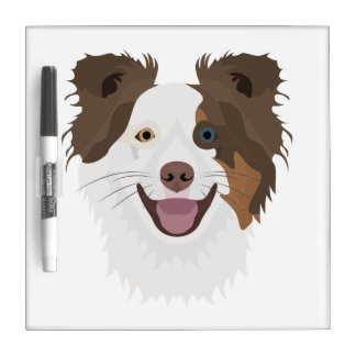 Illustration happy dogs face Border Collie Dry Erase Board