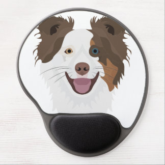 Illustration happy dogs face Border Collie Gel Mouse Pad