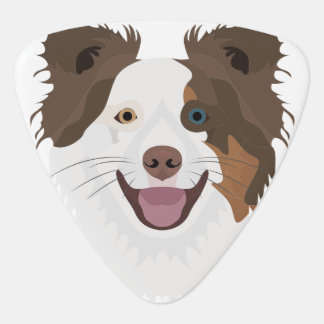 Illustration happy dogs face Border Collie Guitar Pick