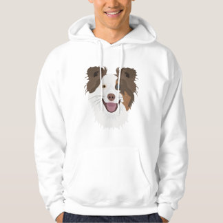 Illustration happy dogs face Border Collie Hoodie