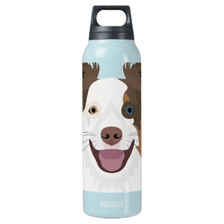 Illustration happy dogs face Border Collie Insulated Water Bottle