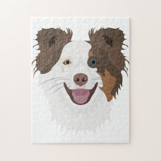 Illustration happy dogs face Border Collie Jigsaw Puzzle