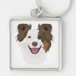 Illustration happy dogs face Border Collie Keychain