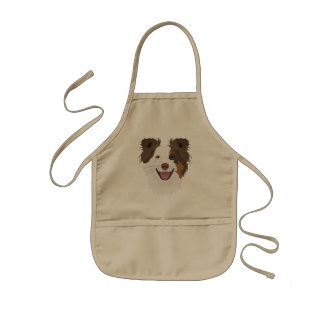 Illustration happy dogs face Border Collie Kids Apron