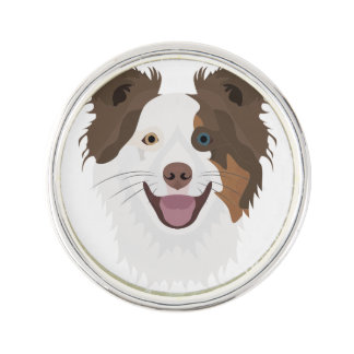 Illustration happy dogs face Border Collie Lapel Pin