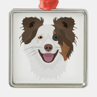 Illustration happy dogs face Border Collie Metal Ornament