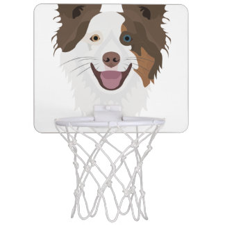 Illustration happy dogs face Border Collie Mini Basketball Hoop