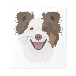 Illustration happy dogs face Border Collie Notepad