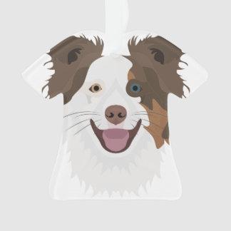 Illustration happy dogs face Border Collie Ornament