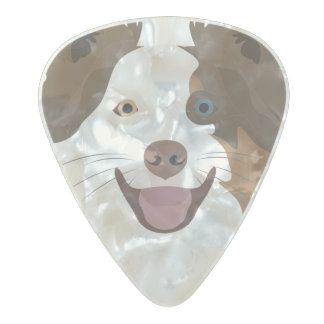 Illustration happy dogs face Border Collie Pearl Celluloid Guitar Pick