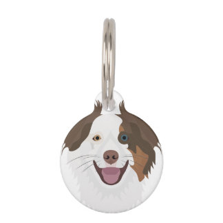 Illustration happy dogs face Border Collie Pet Name Tag