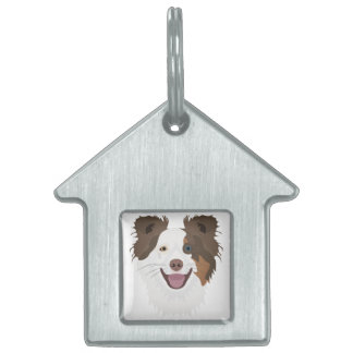 Illustration happy dogs face Border Collie Pet Tag