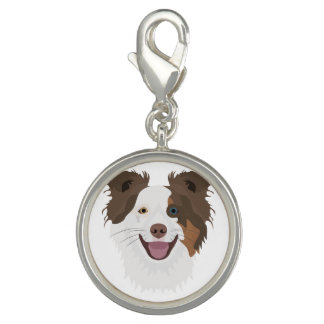 Illustration happy dogs face Border Collie Photo Charm