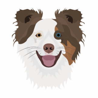 Illustration happy dogs face Border Collie Photo Sculpture Keychain