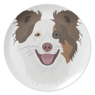 Illustration happy dogs face Border Collie Plate
