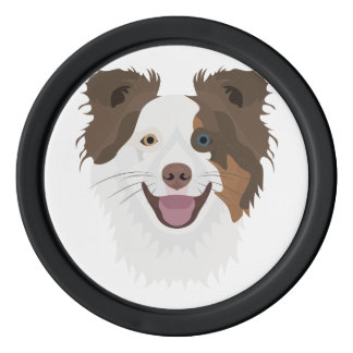 Illustration happy dogs face Border Collie Poker Chips