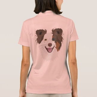 Illustration happy dogs face Border Collie Polo Shirt
