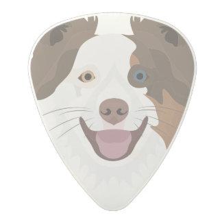 Illustration happy dogs face Border Collie Polycarbonate Guitar Pick