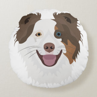 Illustration happy dogs face Border Collie Round Pillow