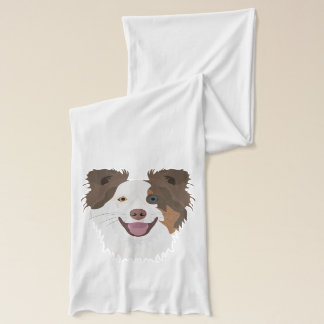 Illustration happy dogs face Border Collie Scarf
