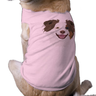Illustration happy dogs face Border Collie Shirt