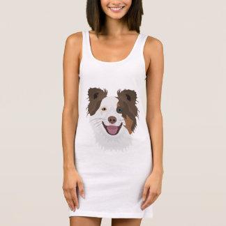 Illustration happy dogs face Border Collie Sleeveless Dress