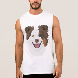Illustration happy dogs face Border Collie Sleeveless Shirt