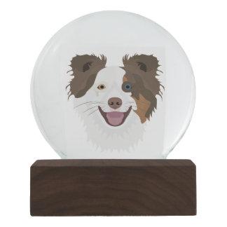 Illustration happy dogs face Border Collie Snow Globe