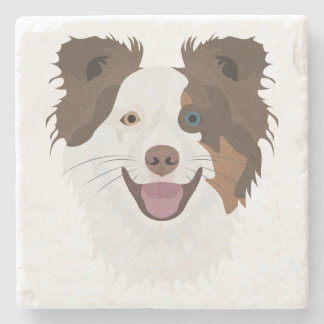 Illustration happy dogs face Border Collie Stone Coaster