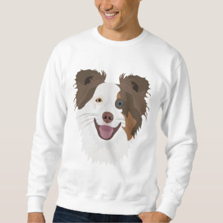 Illustration happy dogs face Border Collie Sweatshirt
