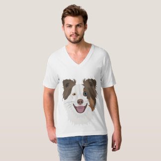 Illustration happy dogs face Border Collie T-Shirt