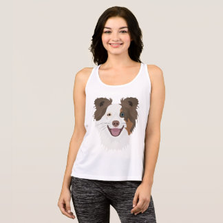 Illustration happy dogs face Border Collie Tank Top