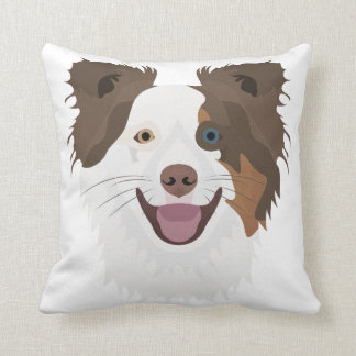 Illustration happy dogs face Border Collie Throw Pillow