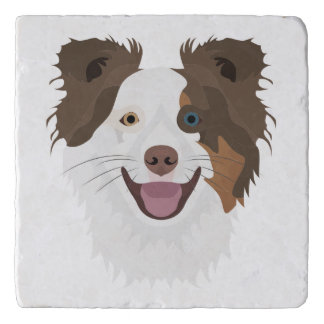 Illustration happy dogs face Border Collie Trivet