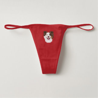 Illustration happy dogs face Border Collie Underwear