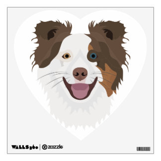 Illustration happy dogs face Border Collie Wall Decal
