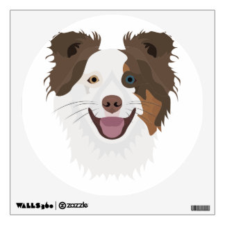Illustration happy dogs face Border Collie Wall Sticker