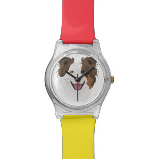Illustration happy dogs face Border Collie Watch