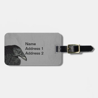Illustration Head Shoulders of Black Crow on Gray Luggage Tag