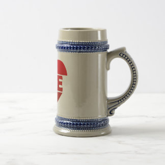 Illustration Heart with lettering LOVE in red Beer Stein