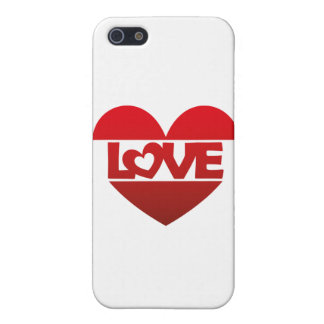 Illustration Heart with lettering LOVE in red iPhone 5 Case
