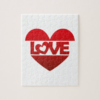 Illustration Heart with lettering LOVE in red Jigsaw Puzzle