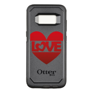 Illustration Heart with lettering LOVE in red OtterBox Commuter Samsung Galaxy S8 Case