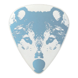 Illustration Ice Blue Wolf Acetal Guitar Pick