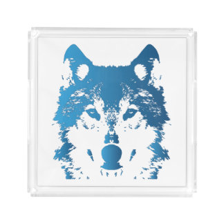 Illustration Ice Blue Wolf Acrylic Tray